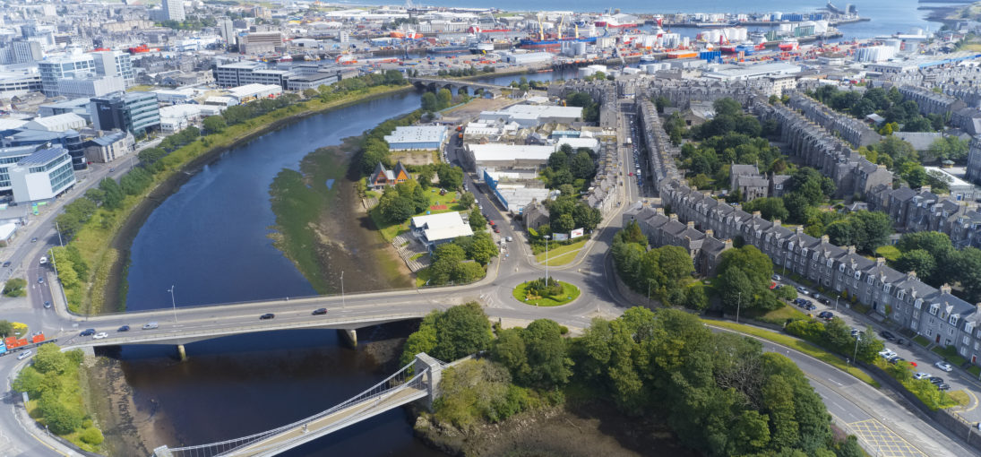Aerial view of Aberdeen as River Dee flows to the North Sea