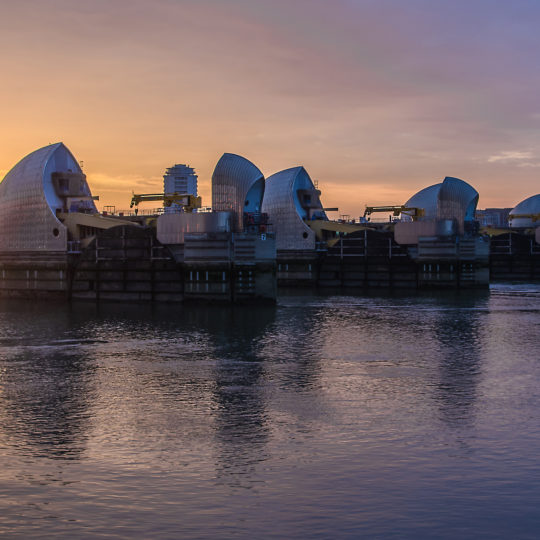 London's flood barrier on river Thames and Canary Wharf