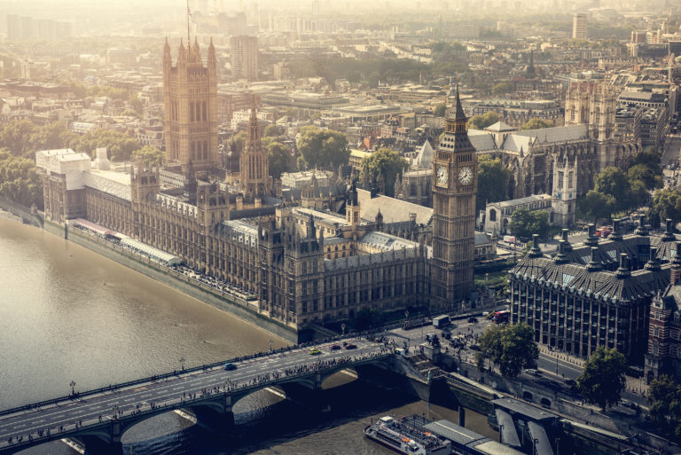 UK Parliament in London city aerial view