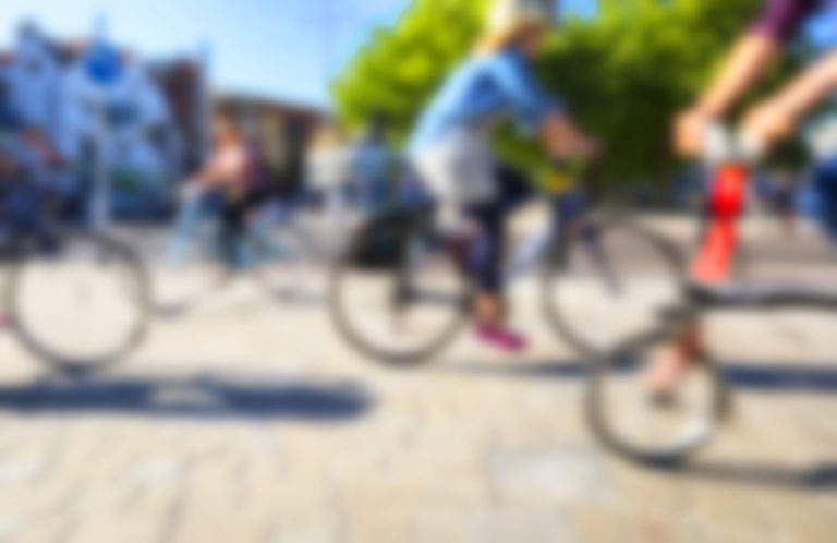 Blurred images of cyclists in Bristol