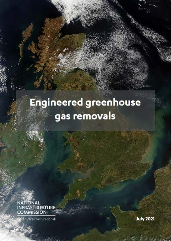 Image of the front cover of the report Engineered greenhouse gas removals