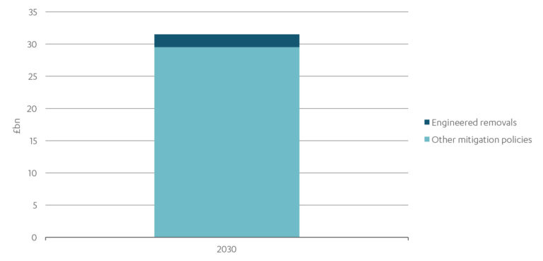 Graph showing the role engineered removals plays over other mitigation policies in 2030