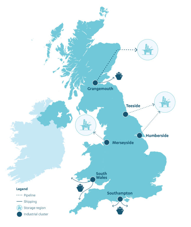 Map showing the industrial clusters for greenhouse gas removals