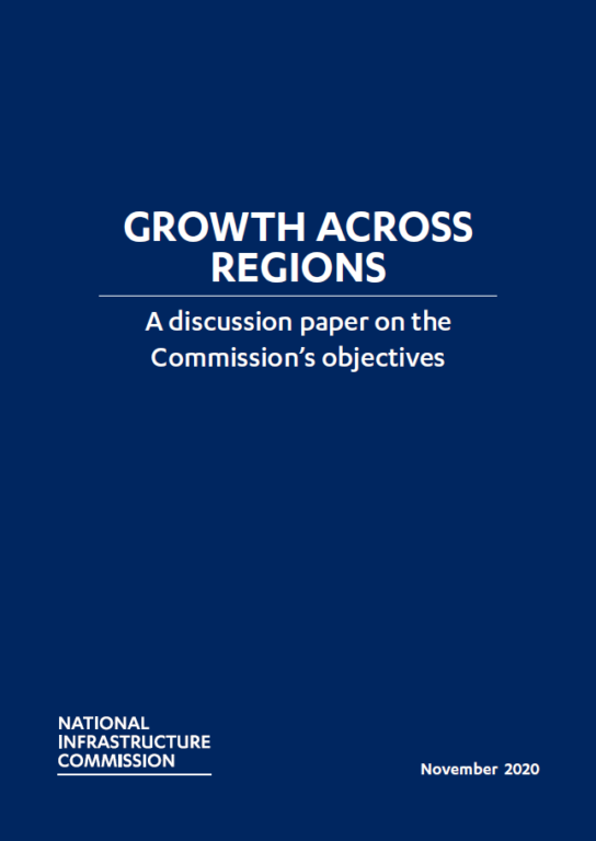 The front cover of the Growth across regions discussion paper
