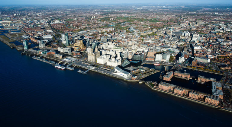 Aerial view over the city of Liverpool