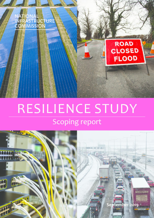 Cover of the Resilience Study scoping report showing four infrastructure images