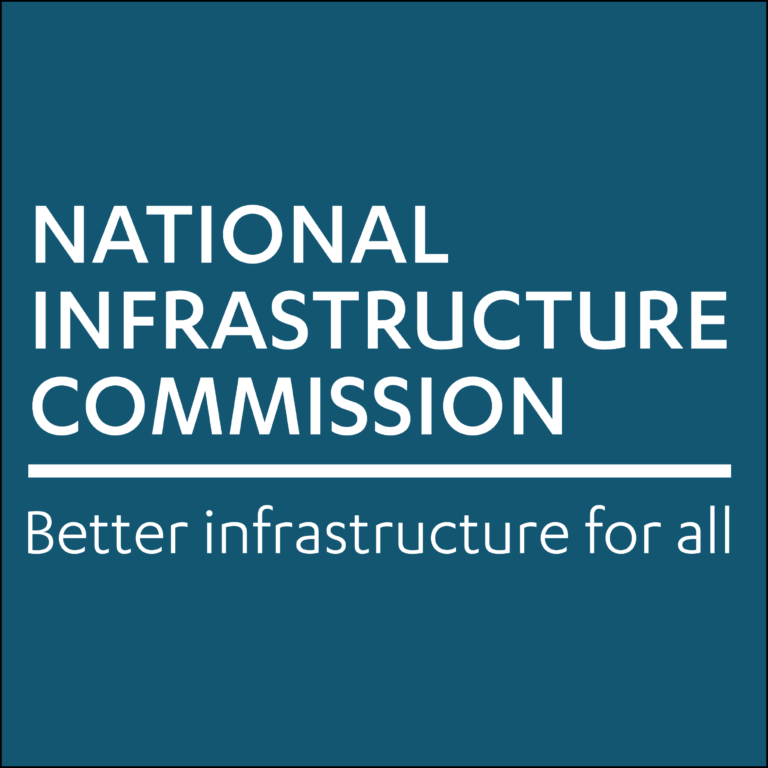 The Commission logo and strapline on a coloured background