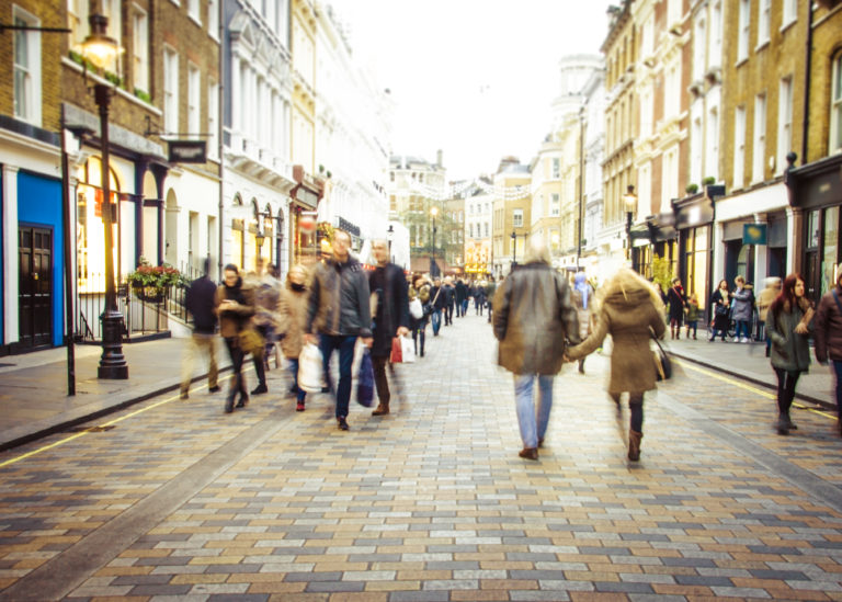 Blurred crowd of people on a UK high street