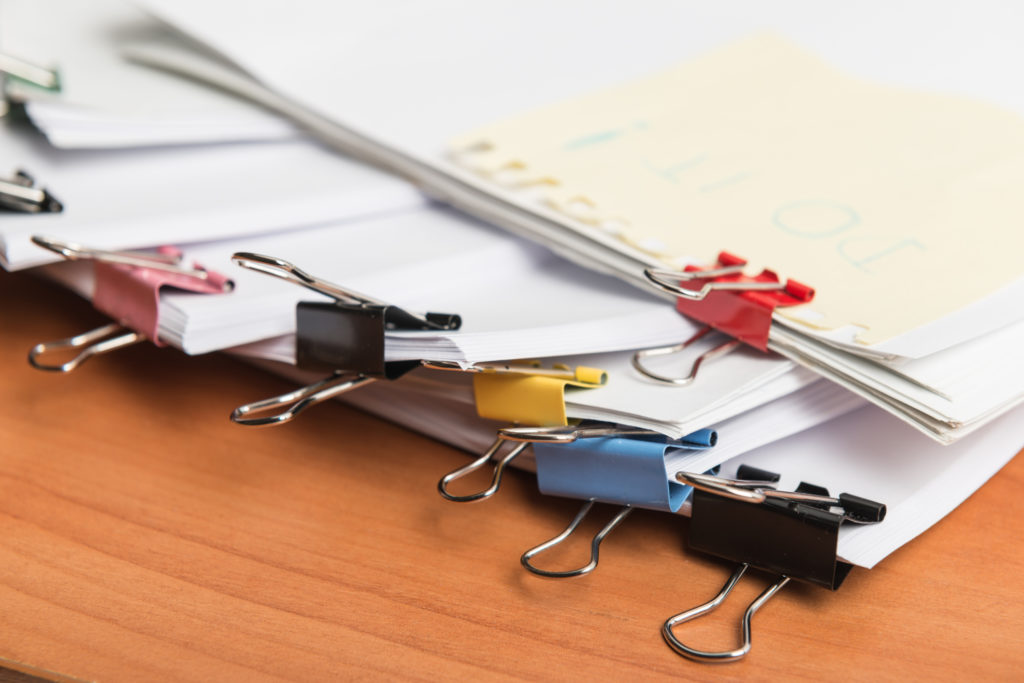 Documents on a desk