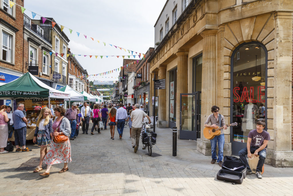 Pedestrianised high street in Winchester, Hampshire, UK