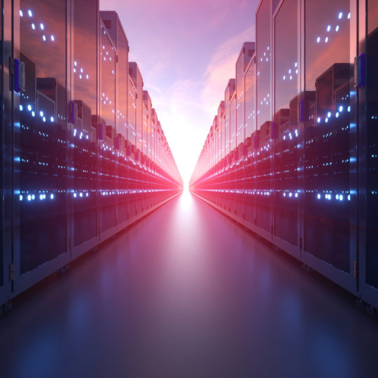 3d rendering of rows of network servers machine farm cloud computing hardware on blue sky background.