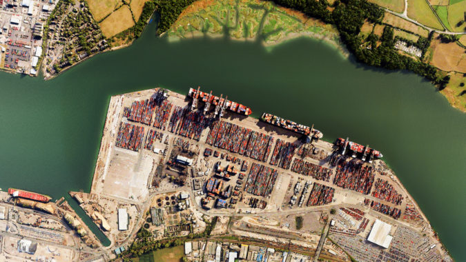 3D drone satellite view of South Hampton commercial dock UK