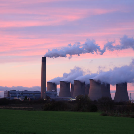 Drax Power Station at sunset, near Selby North Yorkshire