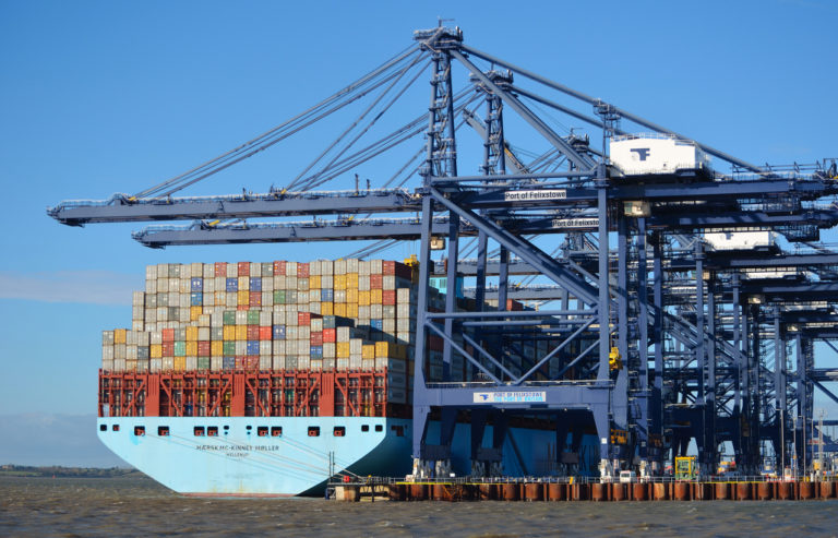 Container ship in Felixstowe being unloaded