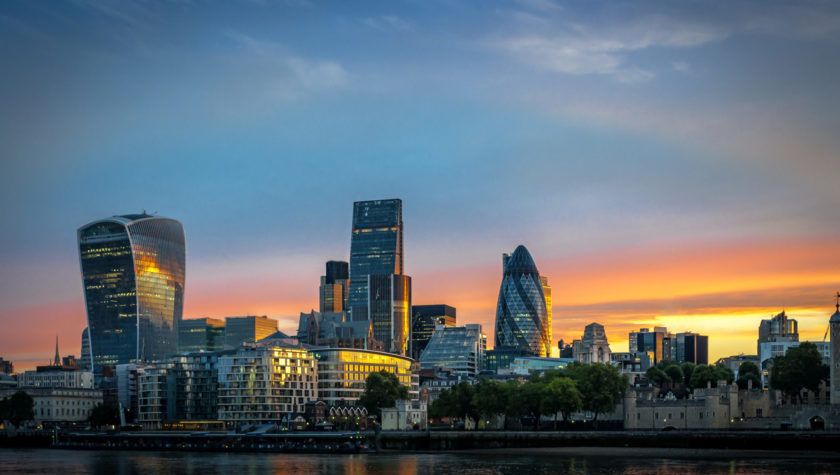 Skyline of The City in London, England at sunrise