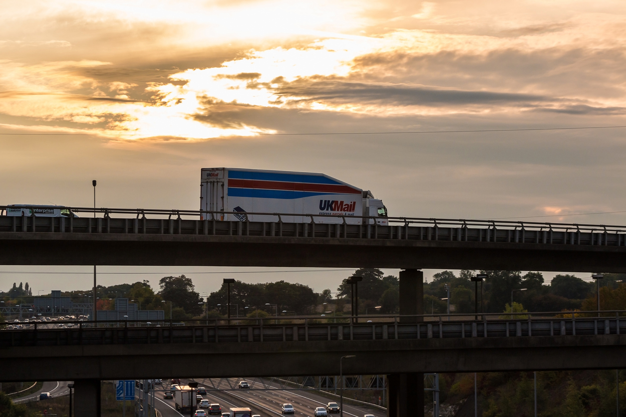 UK Mail lorry on the viaduct