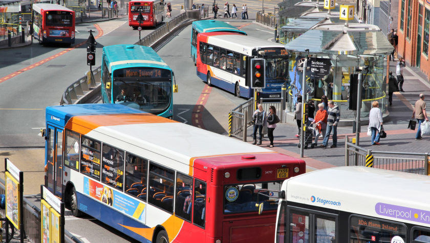 Buses at a busy bus station