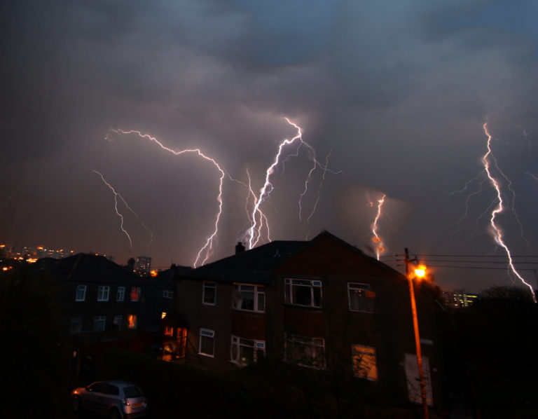 Thunderstorm over UK homes