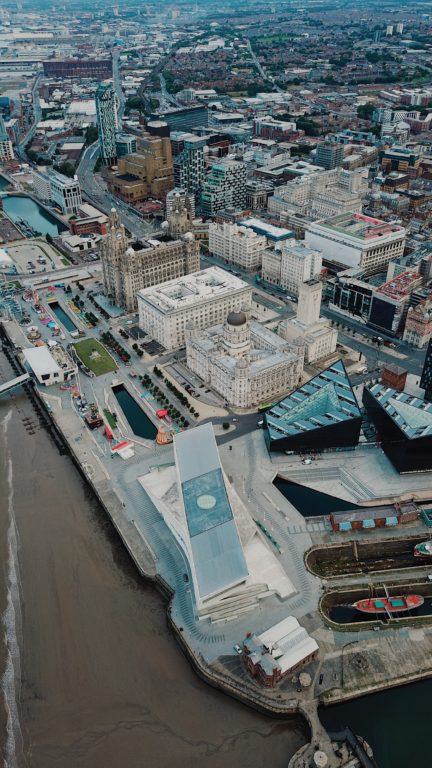 Bird's eye view of Liverpool city centre